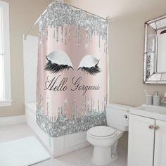 Shop Name Eyelashes Makeup Silver Gray Girly Drips Shower Curtain created by luxury_luxury. Teen Bathroom Decor, Teen Bathrooms, Bathroom Ideas, Dorm Bathroom, Funny Bathroom, Marble Bathrooms, Bathroom Stuff, Bathroom Organisation, Bathroom Designs