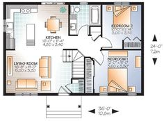 Compact Cottage House Plan - 22379DR | Ranch, Traditional, Canadian, Metric, Narrow Lot, 1st Floor Master Suite, CAD Available, PDF | Architectural Designs