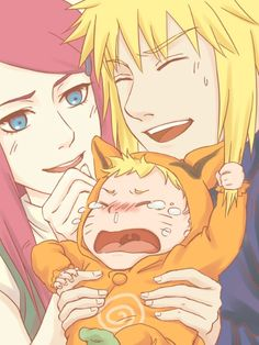 Kushina and Minato with baby Naruto.