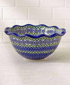 Love this Blue Daisies Fala Scallop Bowl by Lidia's Polish Pottery on #zulily! #zulilyfinds