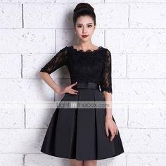 Knee-length Lace / Satin Bridesmaid Dress - Black A-line Scoop 4624110 2016 – $69.99