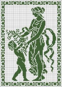 The Four Seasons - Spring | Chart for cross stitch or filet crochet.