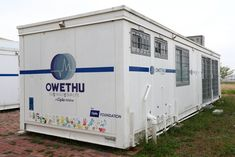 Medical Center made from discarded shipping containers. Containers by Tosphell Containers, South Africa. Storage Container Homes, Container Design, Storage Containers, Shipping Containers, Medical Center, Built In Storage, South Africa, Clinic, Health Care