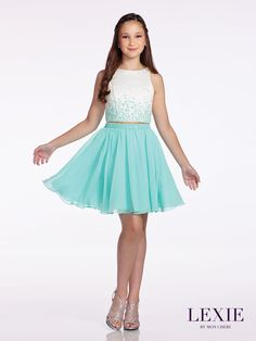 Two-piece satin and chiffon dress, sleeveless ombre hand-beaded satin cropped top with Sabrina neckline, gathered above-the-knee A-line full circle skirt with matching beaded band at high waist. Sizes: 7 – 16 Colors: Aqua/White, Pink/White