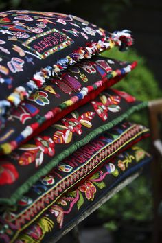 """Lovely embroidered cushions!  """"Brudkuddar"""" - traditionally, the bride would sit on one of these during the handbinding ceremony."""