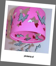 Wisząca lampa MOTYLE filcowa różowo szara