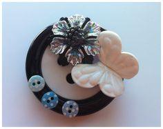 Handmade Button Brooch.