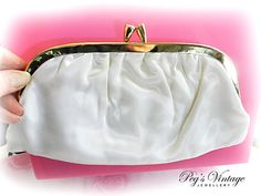 White Satin Clutch Bag Bridal Purse by PegsVintageJewellery