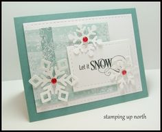 stamping up north, lawn fawn snowflake dies, Lil inker stitched rectangle dies, Stampin Up designer paper All is Calm