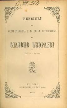 Zibaldone di pensieri - Giacomo Leopardi.