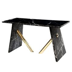 Hudson  Table  Contemporary, Transitional, Metal, Stone, Console Table by Carlyle Collective