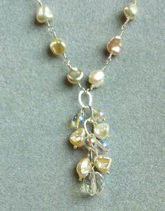 keishi pearl AB crystal sterling silver Y necklace by sumerthyme2