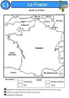 A l'encre violette: LA France theo France Geography, World Geography, French Flashcards, French Worksheets, French Teaching Resources, Teaching French, High School French, Core French, French Education