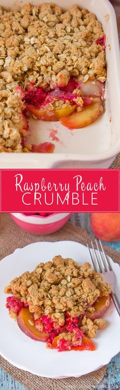 An easy, comforting dessert, using late Summer fruit. Make-ahead and perfect hot or cold, this crunchy, fruit filled Raspberry Peach Crumble will have everyone wanting second helpings!