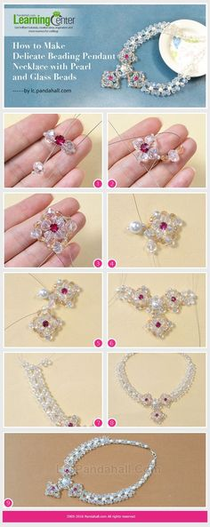 Tutorial on How to Make Delicate Beading Pendant Necklace with Pearl and Glass Beads from LC.Pandahall.com #pandahall | Pinterest by Jersica