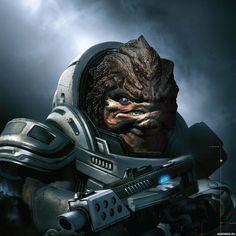 Кроган Грюнт из игры Mass Effect со злым оскалом — Рисунки на аву