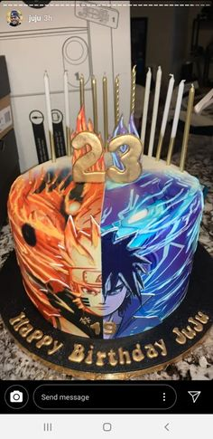 Everything related to the Naruto and Boruto series goes here. 13 Birthday Cake, 10th Birthday Parties, 12th Birthday, Birthday Bash, Bolo Do Naruto, Naruto Party Ideas, Cute Desserts, Its My Bday, Birthday Cakes