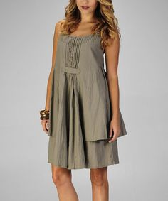 Look what I found on #zulily! Olive Linen Pleated Dress by miilla  #zulilyfinds