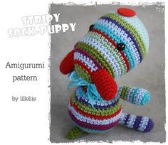 PATTERN, Stripy sock puppy, crochet amigurumi toy, via Etsy.