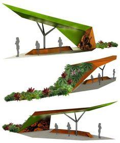 (notitle) - Streetcar stops - Paisagismo Architecture Concept Drawings, Landscape Architecture Design, Green Architecture, Pavilion Architecture, Sustainable Architecture, Residential Architecture, Contemporary Architecture, Parking Plan, Bus Stop Design