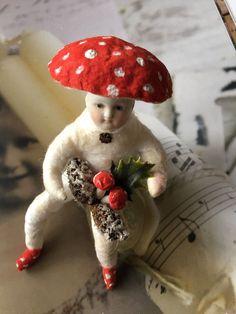 Wattefigur mit Porzellankopf,Wattepilzkind für Federbaum, JDL, Shabby,Vintage | eBay