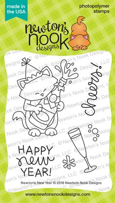 Newton's New Year Stamp Set Newton's Nook Designs Doodle Drawings, Doodle Art, Cute Images, 4 Images, Glass Of Champagne, Cat Quilt, Colouring Pages, Digital Stamps, Clear Stamps