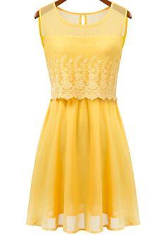 Beautiful sunny yellow lace dress.