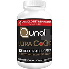 Qunol Ultra Better Absorption, Patented Water and Fat Soluble Natural Supplement Form of Coenzyme Antioxidant for Heart Health, 120 Count Softgels Health Benefits, Health Tips, Coconut Benefits, Natural Antibiotics, Natural Supplements, Antioxidant Supplements, Heart Health, Cholesterol, Herbalism