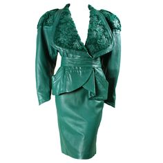 Jean Claude Jitrois Green Leather Suit with Broadtail Collar | From a collection of rare vintage suits, outfits and ensembles at http://www.1stdibs.com/fashion/clothing/suits-outfits-ensembles/