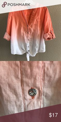 Bright Tie Dye Orange Blouse Super Cute Shiny Buttons  Like New (worn once) ⭐️Prices are Negotiable⭐️ MAKE AN OFFER Bundle for a better deal Free gift  with purchase Ships next day INC International Concepts Tops Button Down Shirts