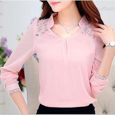 2016 verão plus size mulheres moda de nova blusa camisas, Sexy oca out renda com…