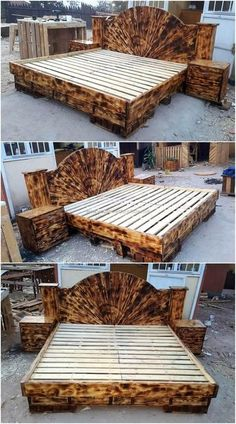 Repurposed Wooden Pallets Giant Beds Here are some ideas for creating repurposed wood pallet made bed and a person can choose any design depending on the storage requirement. The post Repurposed Wooden Pallets Giant Beds appeared first on Wood Diy. Diy Pallet Bed, Pallet Patio Furniture, Wooden Pallet Projects, Wooden Pallet Furniture, Wooden Pallets, Furniture Projects, Pallet Ideas, Furniture Usa, Bedroom Furniture