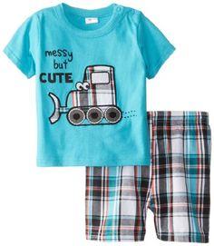 Cutie Pie Baby Boys Infant Plaid Shorts Set Messy But Cute, Blue, 18 Months Cutie Pie Baby