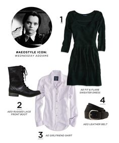 American Eagle Outfitters Halloween #AEOSTYLE Icon: Wednesday Adams  This would be an easy Halloween costume and I like the outfit! :) Wear it on other days too.