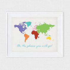 This print will look just beautiful in your childs room or elsewhere in your home. With the lovely quote oh, the places you will go! perfect for a budding