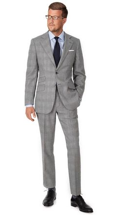 Grey Glen Plaid Suit | Extrafine English Wool by Alfred Brown. Browse the suits at https://www.oliverwicks.com #custom #suit #OliverWicks