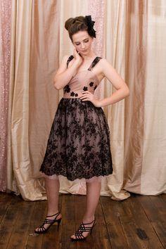 Vintage inspired Black Lace silk taffeta by NatalieChanBoutique