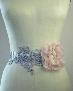 Gray Lace And Blush Silk Flower Wedding Sash on Etsy, $178.00