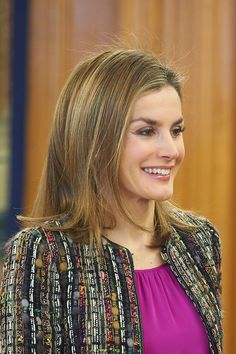 Queen Letizia of Spain attended an audience with National Commission for the Rationalization of Spanish Hours at Palacio de la Zarzuela on Jan. 9, 2015 in Madrid