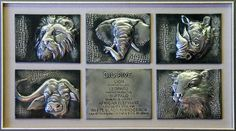 framed big 5 animals created from pewter sheet in high relief by Mary Ann Lingenfelder of Mimmic Gallery and Studio.
