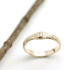 14k Yellow Gold Tree Bark Love Knot 2mm Diamond by BethCyrWeddings, $640.00