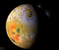 """Voyager 1 Space Probe reaches new frontier 33 years after launch, withbeautiful photographs ofIo, one of Jupiter's moons.   Ed Stone, Voyager Project Scientist, Caltech, said:  """"Finding a moon that's 100 times more active volcanically than the entire Earth,"""