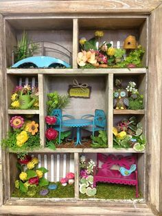 Fairy Garden- using a recycled wooden utensil drawer and re-sizing the dividers
