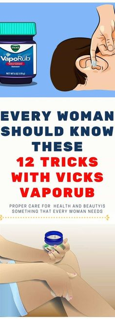 Proper care for health and beautyis something that every woman needs, but this does not necessarily mean that she has to spend a small fortune on personal care products. Vicks VapoRub, a popular remedy used by many of you in the case of colds, coughs, and Headache Remedies, Herbal Remedies, Health Remedies, Home Remedies, Natural Remedies, Holistic Remedies, Cough Remedies, Health And Beauty Tips, Health Tips