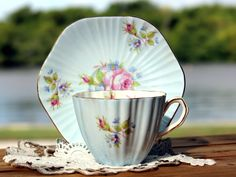 EB Foley Teacup and Saucer, Blue Floral English Tea Cup, Fine Bone China, Vintage Teacups - Baby blue exterior and beautiful floral transferware decorate this delicate, ribbed set. Sweet vintage piece