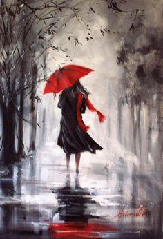 HELEN COTTLE 1962 (Red umbrella) -American Impressionist painter
