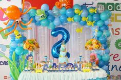 Sally A's Birthday / Bubble Guppies - Bubble Guppies Birthday at Catch My Party Spongebob Birthday Party, First Birthday Parties, Birthday Party Decorations, Frozen Birthday, Party Favors, Birthday Ideas, 20 Birthday, Octonauts Party, Bubble Guppies Birthday