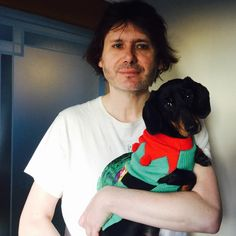 """Manic Street Preachers (@manics) on Instagram: """"Merry Christmas jumper day xxx❄️❄️❤️"""" Nicky Wire and his sausage dog"""