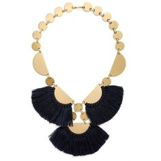 Tory Burch 'Fringe Disc' Statement Necklace ($295) ❤ liked on Polyvore featuring jewelry, necklaces, fringe statement necklace, gold tone jewelry, bib statement necklace, fringe necklace and tory burch jewelry