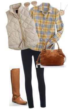 Adorably Fall inspired. Yellow plaid, white vest, skinny jeans and equestrian boots.
